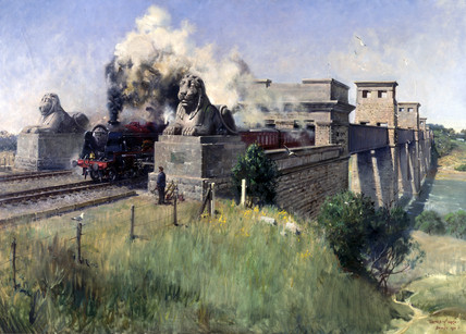 Steam locomotive crosing bridge, August 19