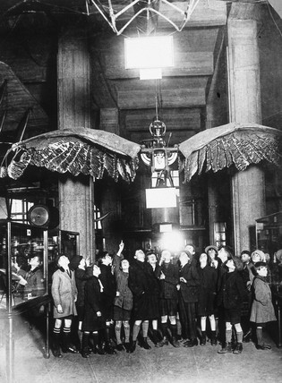 Schoolchildren with the Frost Ornithopter, Science Museum, c 1936.