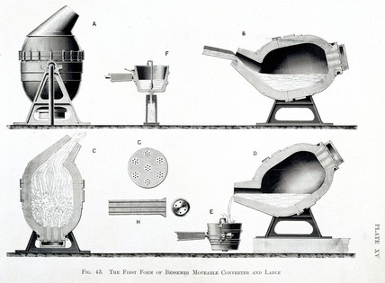 The First Form of Besemer Moveable Converter and Ladle', c 1860.