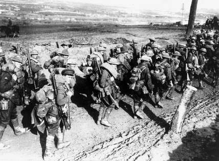 Australian soldiers marching to the front l