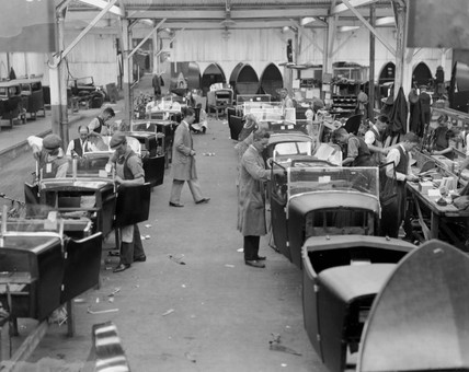 A production line at Lanchester Cars, Coventry, 22 September 1931.