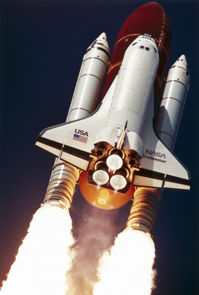Lift-off of Space Shuttle Endeavour, 12th September 1992.