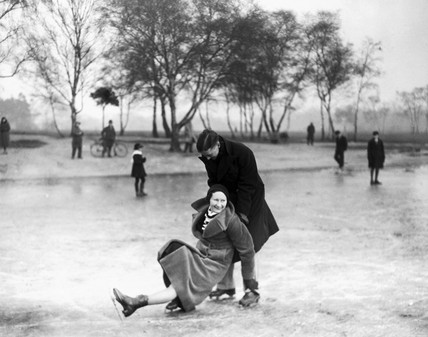 Woman slipping on the ice, Wimbledon, London, 27 January 1932.