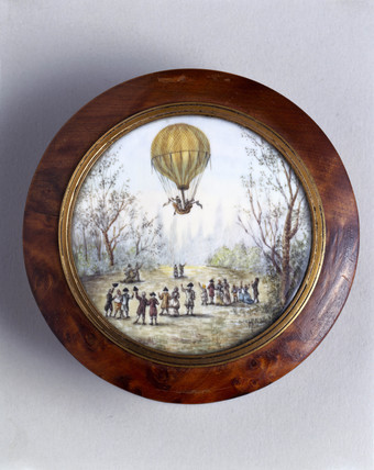 Ballooning scene, late 18th century.