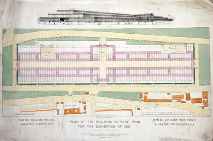 Elevation and plan of Crystal Palace in Hyde Park, London, 9 November 1850.