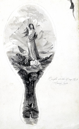 Design for a mirror back featuring Venus in her shell, c 1870-1875.