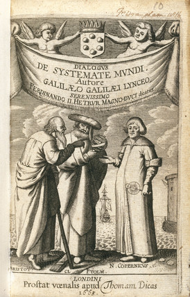 Frontispiece of 'Cosmic System' by Galileo, 1663.