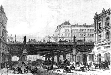Holborn Valley Viaduct, London, as projected in 1867.