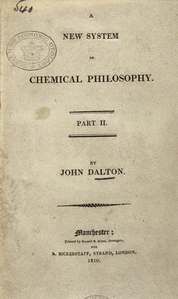 Title page from Dalton's 'A New System of Chemical Philosophy'', 1810.