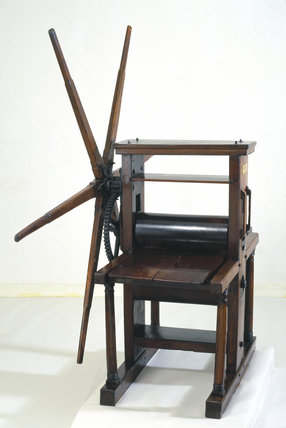 Geared roller copper plate printing pres, 18th century.