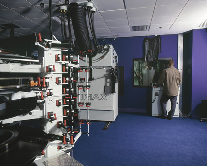 A technician in the Imax projection room, Wellcome Wing, 2000.