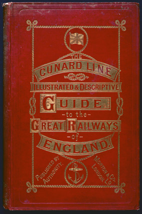 Front cover of a 'Cunard Line' guidebook, 1890.