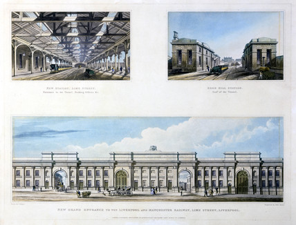 Three views of the Liverpool & Manchester Railway, Liverpool, 1836.