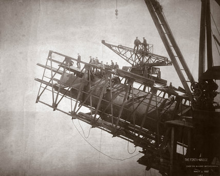 Construction works, Forth Railway Bridge, Scotland, 9 March 1887.