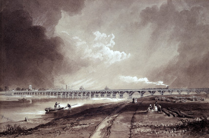 Shoreham Bridge over the River Adur, West Susex, c 1850.