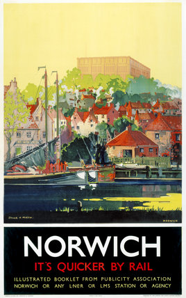 'Norwich - It's Quicker by Rail', LNER poster, 1930s.