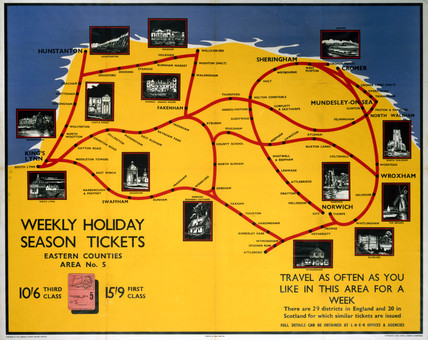 'Weekly Holiday Season Tickets- Eastern Counties', LNER poster, 1923-1947.