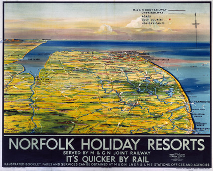 'Norfolk Holiday Resorts', M&GN/LNER/LMS poster, 1936.