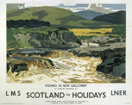'Fishing in New Galloway', LMS/LNER poster, 1923-1947.