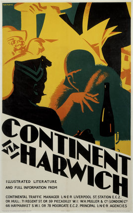 'Continent via Harwich', LNER poster, 1923-1930.