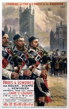 Scots pipers, LBSCR poster, 1907.