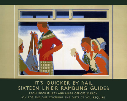 'It's Quicker by Rail - Sixteen LNER Rambling Guides', poster, 1923-1947.