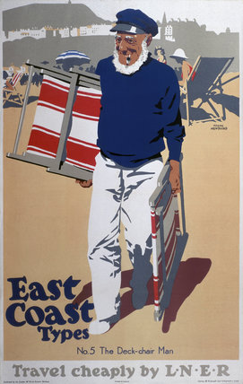 'East Coast Types - No 5, The Deck-Chair Man', LNER poster, 1923-1947.