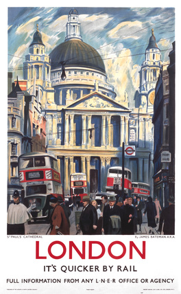 'London - St Paul's Cathedral', LNER poster, 1939.