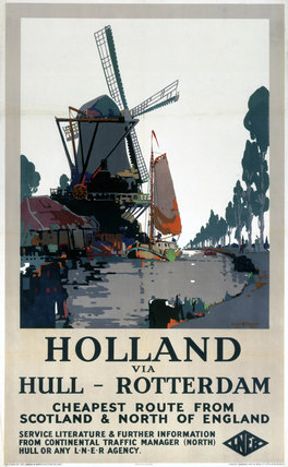 'Holland via Hull - Rotterdam', LNER poster, c 1920s.