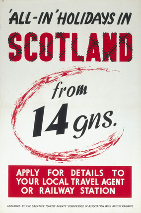 All-In' Holidays in Scotland, Creative Tourist Agents', BR poster, c 1950s.