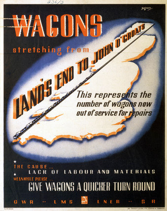 'Wagons stretching from Land's End to John O'Groats', poster, 1945.