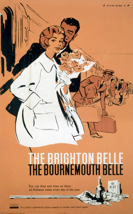 'The Brighton Belle, The Bournemouth Belle', BR (SR) poster, c 1960s.