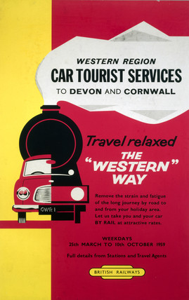 'Western Region Car Tourist Services to Devon and Cornwall', BR poster 1959.