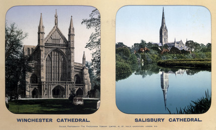 Winchester Cathedral, Hampshire, and Salisbury Cathedral, Wiltshire, 1910s.