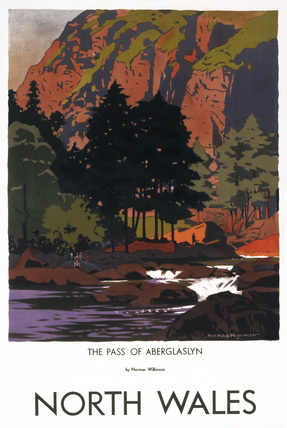 The Pass of Aberglaslyn, Gwynedd, North Wales, LMS poster, 1945.
