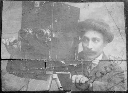 James Crawley operating a Friese-Greene camera.
