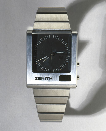 Zenith quartz watch with both analogue and digital display, 1976.