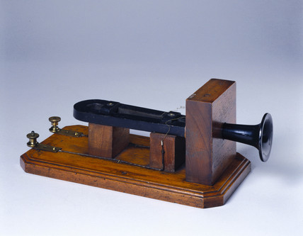 Early telephone by Alexander Graham Bell, c 1870s.