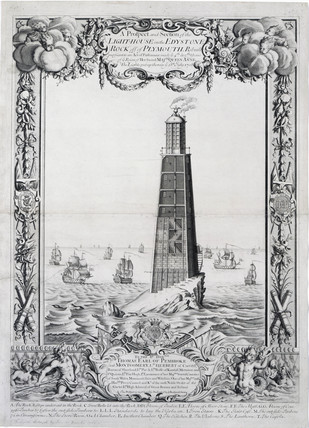 The second Eddystone lighthouse, Devon, 1708.