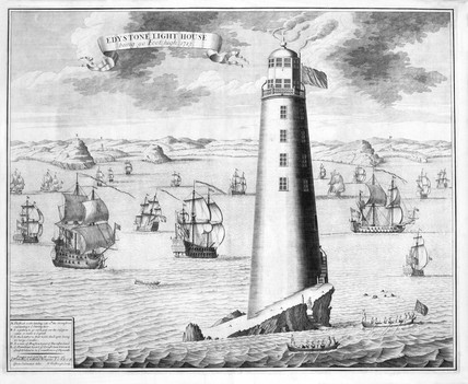 The second Eddystone lighthouse, Devon, 1713.