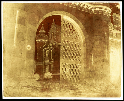 Calotype negative showing 'Entrance Gate,  Abbotsford', Scotland, 1845.