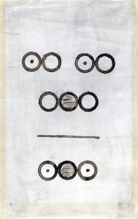 Dalton's diagram representing the combustion of methane, 1804-1807.