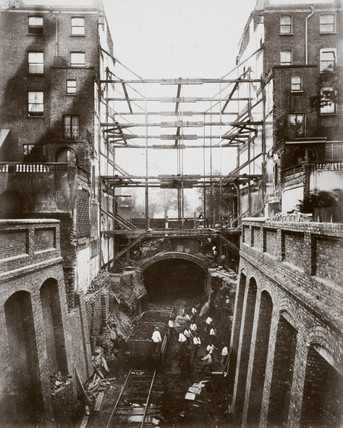 Construction of the Metropolitan District Railway, Bayswater, London, c 1867.