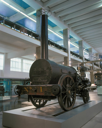 Remains of Stephenson's 'Rocket' (1829) on display, 2001.