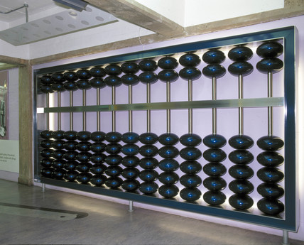 Giant abacus, The Basement, Science Museum, London, June 2001.