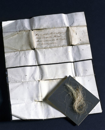 A lock of hair, reputed to have been taken from King George III, 1760-1820.