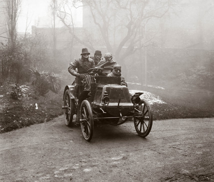 C S Rolls's motor car after completing the Paris to London race, 1899.