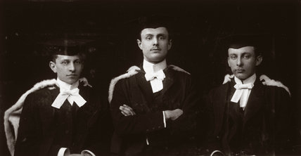 C S Rolls (centre) with two college friends posing for a portrait, c 1895.