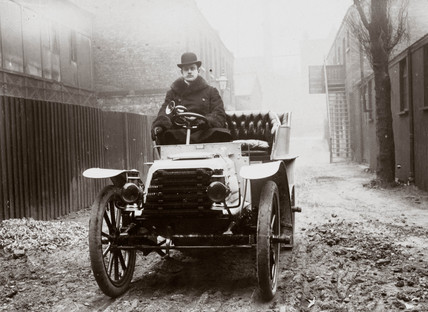 C S Rolls behind the wheel of a Panhard motor car, London, 1903.