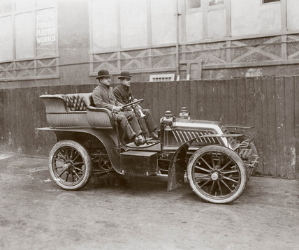 C S Rolls (right) in the 80 hp Mors sold to the Duke of Manchester, c 1903.